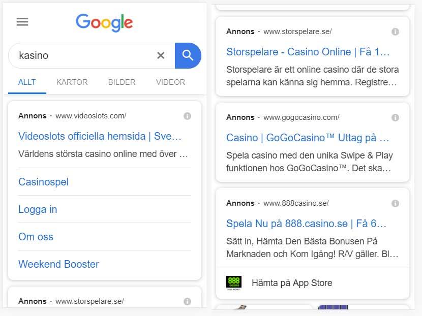 Google Ads sökning på Kasino